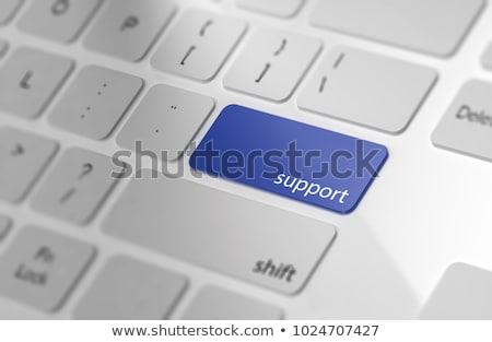 Toetsenbord Blauw knop hotline kantoor telefoon Stockfoto © Zerbor