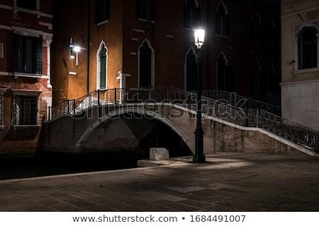 Venetië nacht gebouwen water straat brug Stockfoto © Nickolya