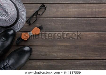 Shoe border on a wood background Stock photo © ozgur