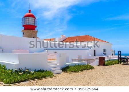 farol · costa · cornualha · praia · céu · água - foto stock © compuinfoto