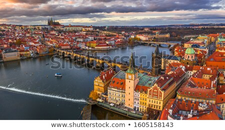 aerial view of prague with st vitus cathedral stock photo © andreykr