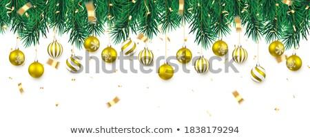shining christmas tree with frame in red Stock photo © marinini