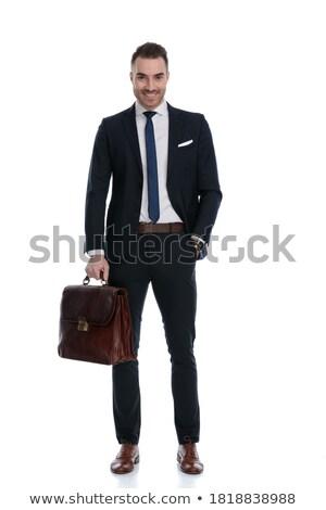 vrolijk · zakenman · uit · hand · witte - stockfoto © wavebreak_media