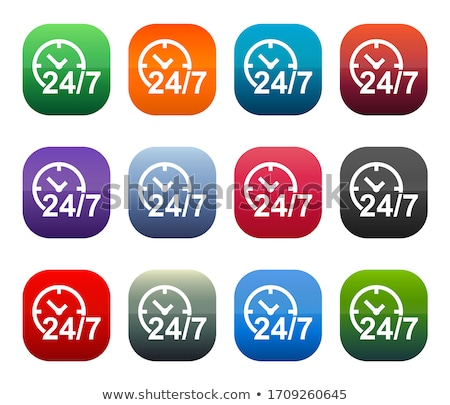 24 Hours Services Square Vector Pink Icon Design Set Stock photo © rizwanali3d