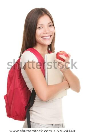 barbudo · estudante · mochila · olhando · câmera · isolado - foto stock © deandrobot