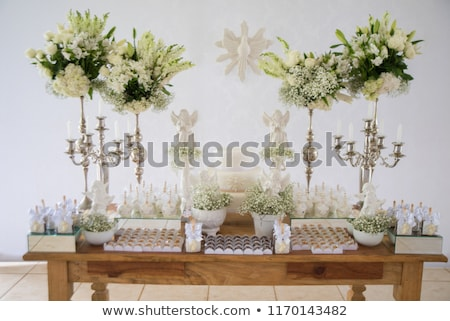 Baba keresztség díszítések asztal művészet zöld Stock fotó © mady70