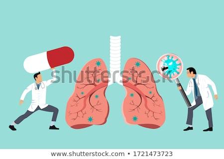 Diagnóstico gripe médico azul pílulas seringa Foto stock © tashatuvango