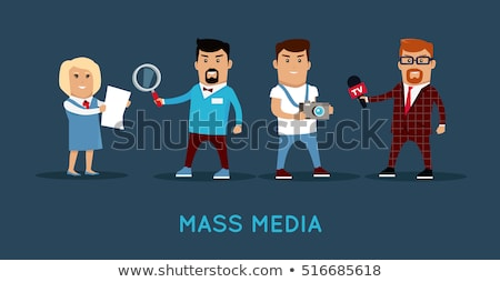 Stock photo: Press Photographer Shows Investigative Journalist And Commentato
