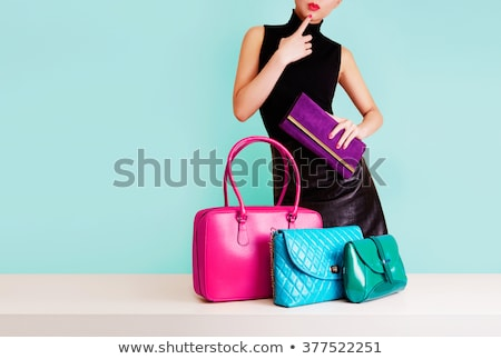 Moda model siyah elbise çanta portre ayakta Stok fotoğraf © deandrobot