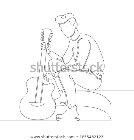 Hombre guitarra acústica sesión pasos retrato Foto stock © stryjek