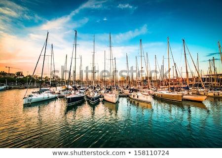 парусного · лодках · порт · пирс · ночь - Сток-фото © lunamarina