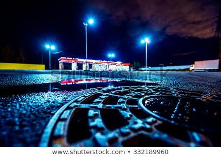 Gasolinera luces bokeh fuera enfoque luz Foto stock © stevanovicigor