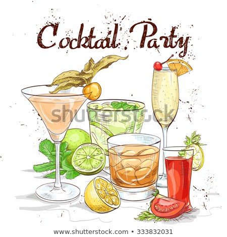 contemporanea · cocktail · menu · modello · disegni · cocktail - foto d'archivio © netkov1