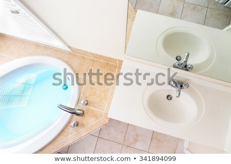 interior architecture of full bathtub and acrylic sink stock photo © ozgur