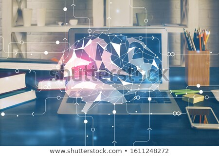 cerebro · pc · imagen · datos · cerebro · humano · ordenador - foto stock © x7vector