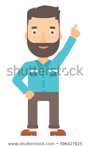 man pointing up with his forefinger stock photo © rastudio
