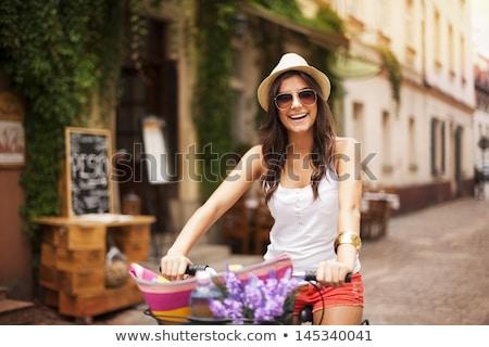Gelukkig vrouw fiets straat oude binnenstad mooie Stockfoto © vlad_star