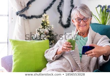 Idős illusztráció személy ki adag étel Stock fotó © lenm