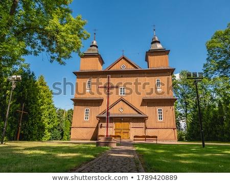 Fából készült katolikus templom Lengyelország épület történelem Stock fotó © phbcz