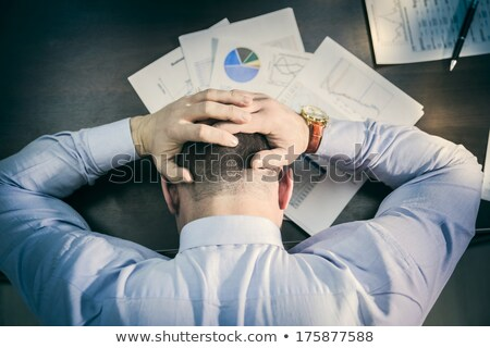 üzletember · depresszió · kezek · homlok · érett · kéz - stock fotó © zurijeta