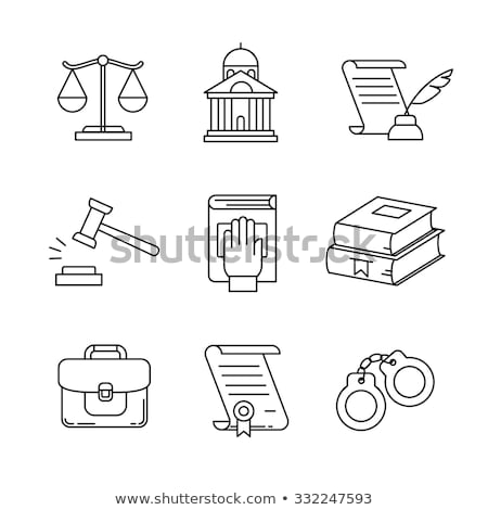 törvény · igazság · vékony · vonal · ikon · szett · modern - stock fotó © anna_leni