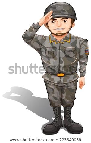 Coraggiosi soldato mano rispetto illustrazione Foto d'archivio © bluering