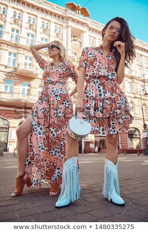 Blond modieus vrouw dame meisje Stockfoto © majdansky