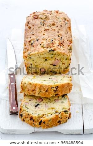 Borsikafű sonka olajbogyó torta szeletek étel Stock fotó © Digifoodstock