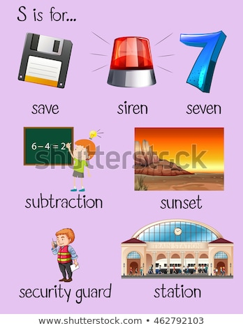 Flashcard letter S is for station Stock photo © bluering