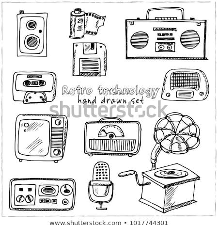 Gramofon rajz ikon vektor izolált kézzel rajzolt Stock fotó © RAStudio