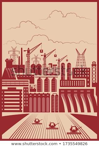 starych · fabryki · noc · stylizowany · działalności · budowy - zdjęcia stock © tracer