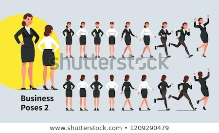 happy business woman running vector illustration stock photo © rastudio