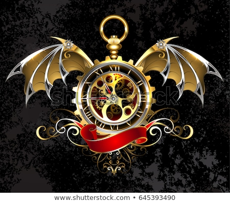 Clock with dragon wings stock photo © blackmoon979