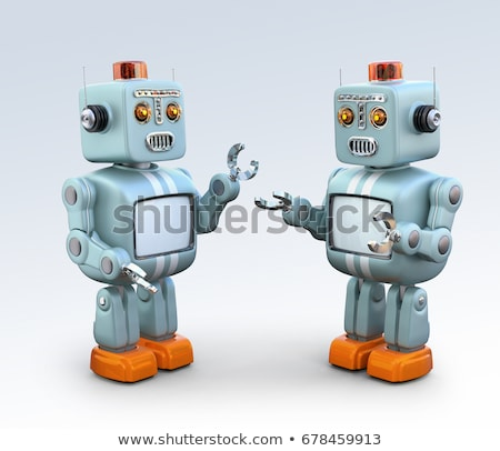 Two robots with happy face Stock photo © bluering