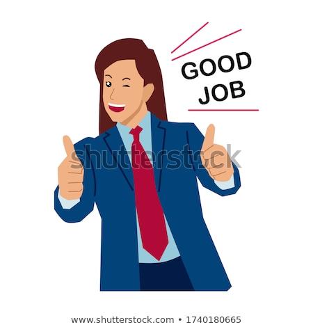 азиатских счастливым деловая женщина вектора Сток-фото © NikoDzhi