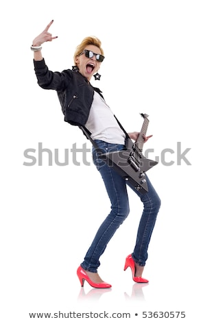 cool woman guitarist making a rock and roll hand sign Stock photo © feedough