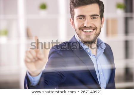 man pushes glass Stock photo © drizzd