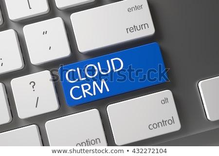 Blauw wolk crm toetsenbord 3D Stockfoto © tashatuvango