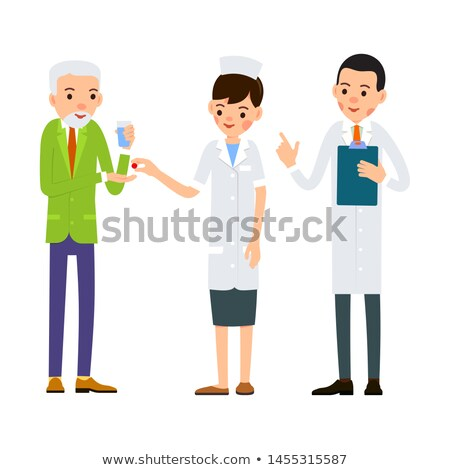 Foto stock: Senior · farmacêutico · pílulas · vidro · água · caucasiano