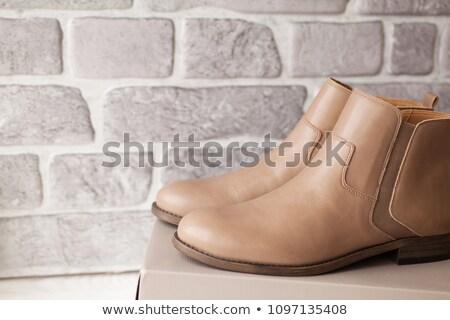 Bruin leder laarzen decoratief metalen mode Stockfoto © frescomovie