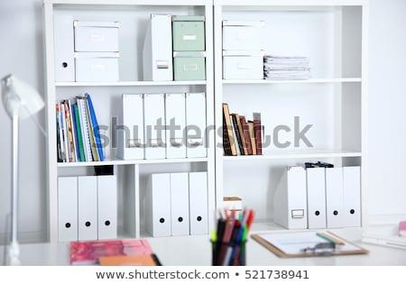 Ofis raf belge kırtasiye modern Çalışma alanı Stok fotoğraf © stevanovicigor