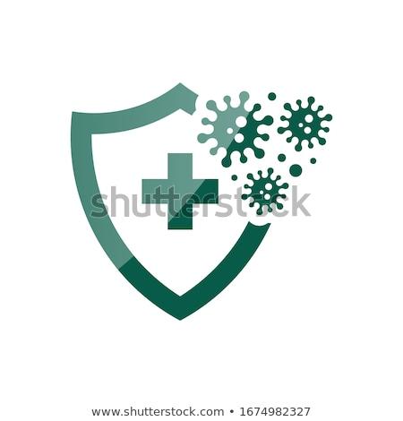 azul · prata · proteção · escudo · vírus - foto stock © psychoshadow