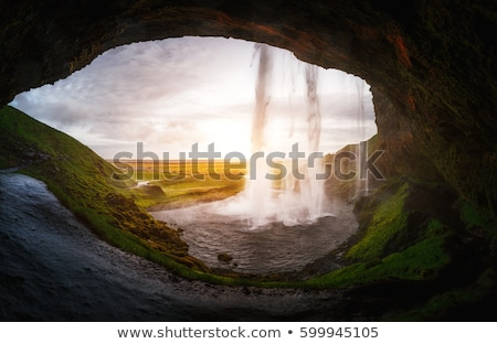 IJsland · waterval · hemel · water · wolken · sneeuw - stockfoto © leonidtit