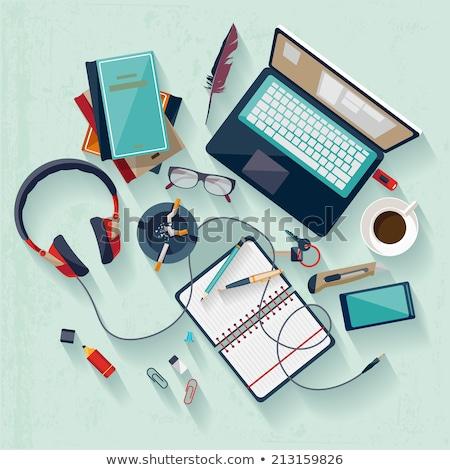 top · view · vettore · set · ufficio · lavoro - foto d'archivio © sonya_illustrations
