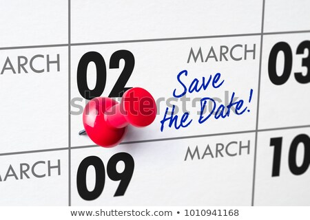 Wall calendar with a red pin - March 02 Stock photo © Zerbor