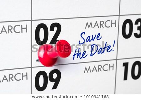 mettre · date · mur · calendrier · mots - photo stock © zerbor