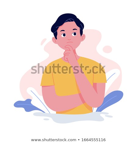 Cool young male cartoon character vector illustration, standing with arms crossed and serious expres Stock photo © jeff_hobrath