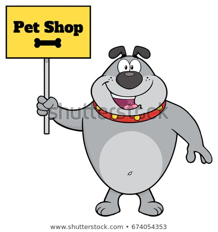 Stock foto: Gray Bulldog Cartoon Mascot Character Holding A Sign With Text Pet Shop