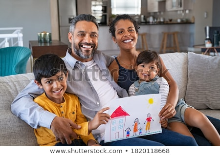 retrato · de · família · dois · irmãos · leitura · livros · criança - foto stock © is2