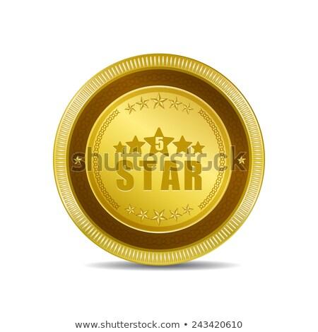 5 Star Round Vector Web Element Circular Button Icon Design Stock photo © rizwanali3d